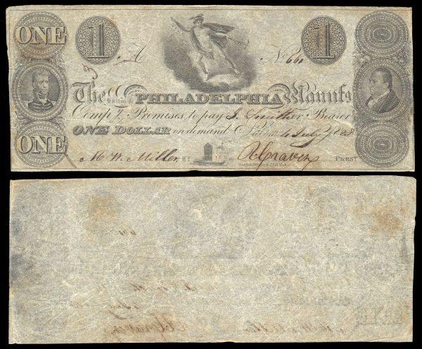 USA, NEW JERSEY, Salem & Philadelphia Manufg. Comp., 1 dollar, 4.7.1828