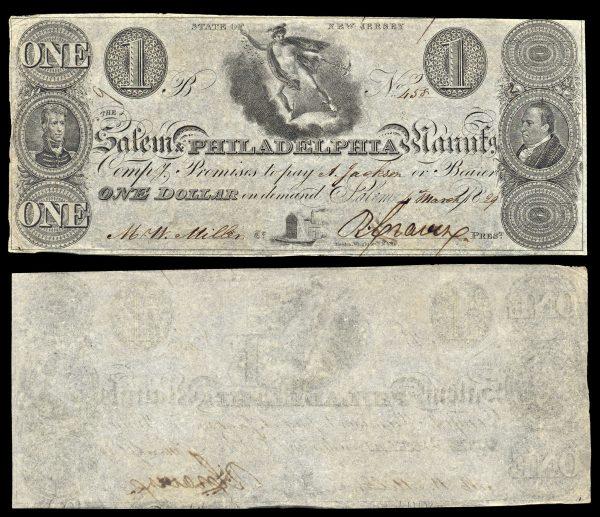 USA, NEW JERSEY, Salem & Philadelphia Manufg. Comp., 1 dollar, 4.3.1829