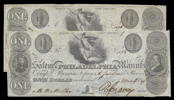 USA, NEW JERSEY, Salem & Philadelphia Manufg. Comp.,  pair of 1 dollar notes with same serial number, 4.3.1829