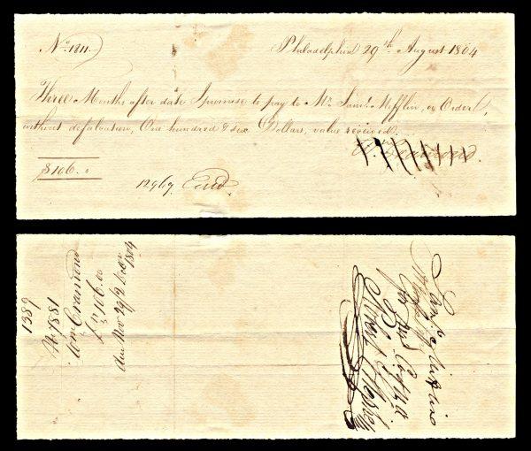 PENNSYLVANIA, Philadelphia, promissory note, 1804