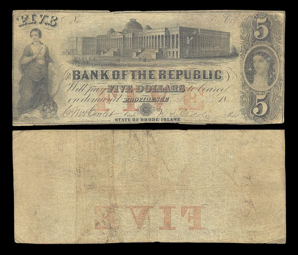 USA, RHODE ISLAND, Providence, Bank of the Republic, 5 dollars, (1858?)