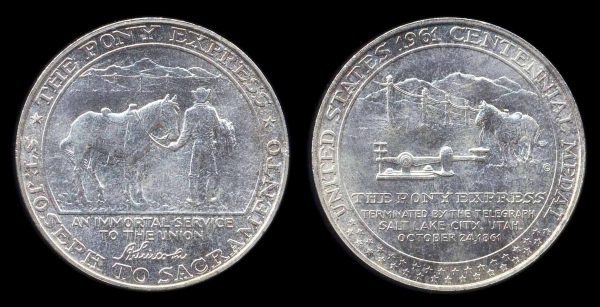USA, Pony Express silver medal, 1961