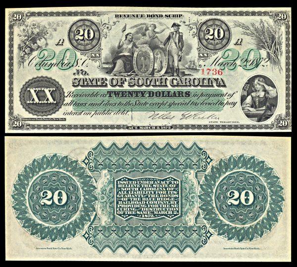 USA, SOUTH CAROLINA, 20 dollars, 2.3.1872