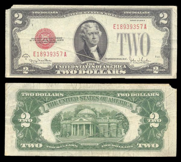 USA, United States Note, 2 dollars, 1928-G ERROR