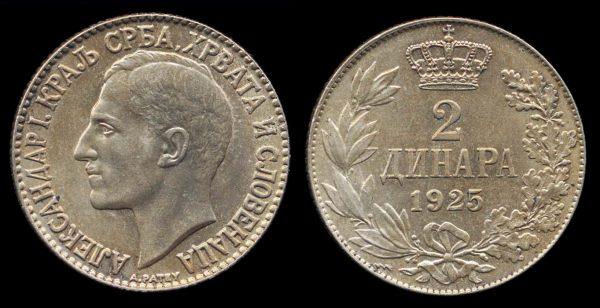 YUGOSLAVIA, 2 dinar, 1925, Poissy mint