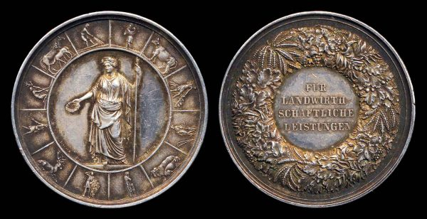 GERMANY, silver agricultural award medal, mid-19th century