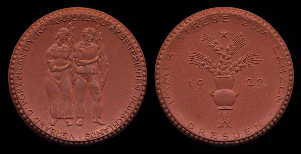 GERMANY, DRESDEN, porcelain medal, 1922