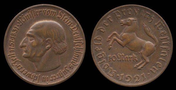 GERMANY, WESTPHALIA, 10 mark notgeld, 1921