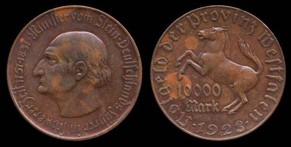 GERMANY, WESTPHALIA, 10,000 mark notgeld, 1923