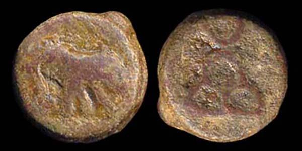 PUSHKALAVATI, c.185-160 BC, 1/2 karshapana