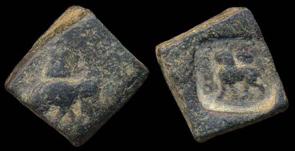 PUSHKALAVATI, c 185-160 BC, 1 karshapana
