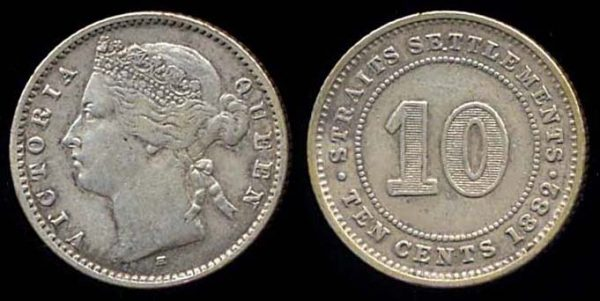 STRAITS SETTLEMENTS, 10 cents, 1882 H