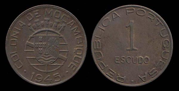 MOZAMBIQUE, 1 escudo, 1945