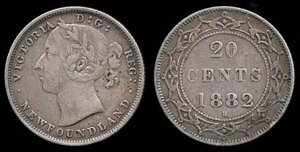 NEWFOUNDLAND, 20 cents, 1882 H