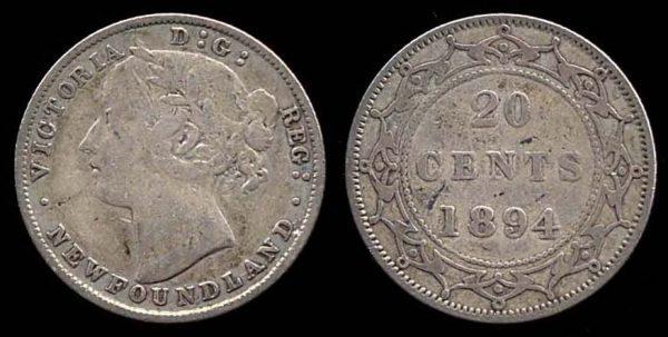 NEWFOUNDLAND, 20 cents, 1894