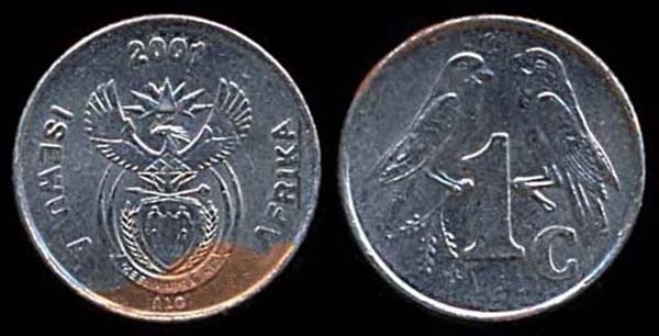 SOUTH AFRICA, 1 cent, 2001 ERROR