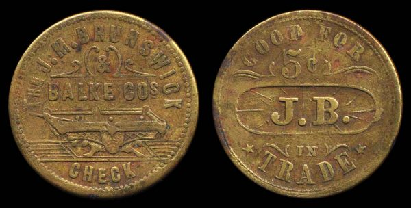 USA, LOUISIANA, billiards token 1874-84
