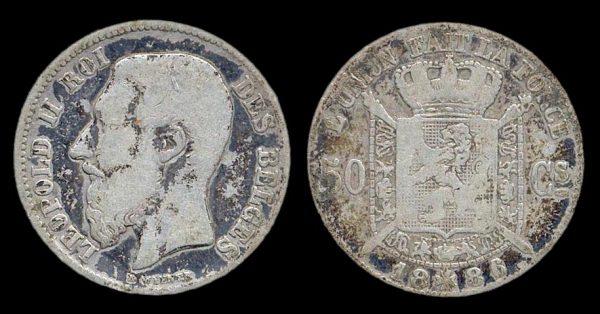 BELGIUM, 50 centimes, 1886 86 over 61