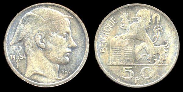 BELGIUM, 50 francs, 1954