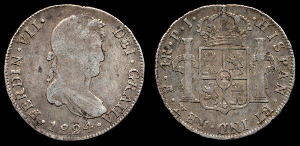 BOLIVIA, 4 reales, 1824 PJ