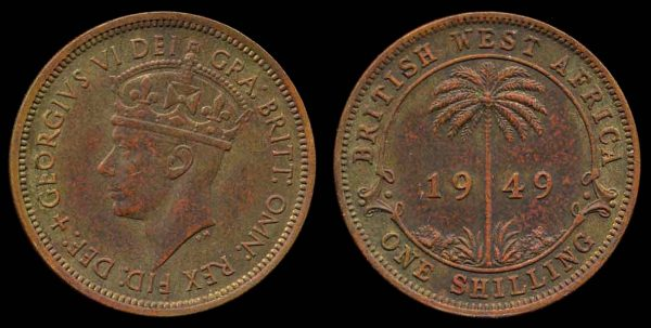 BRITISH WEST AFRICA, 1 shilling, 1949 H
