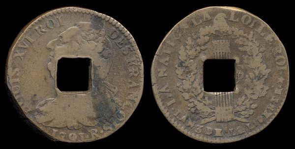 CHINA, French 2 sols 1791 R, made into a a multiple cash
