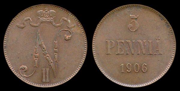 FINLAND, 5 pennia, 1906