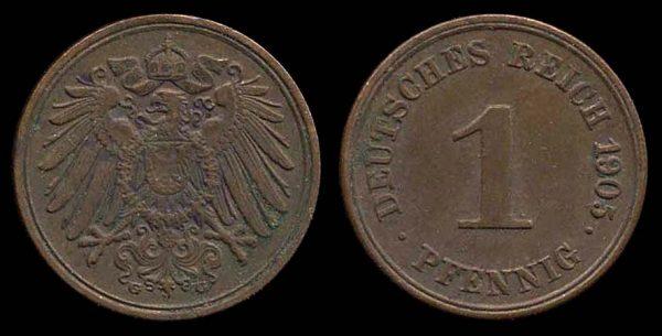 GERMANY, 1 pfennig, 1905 G