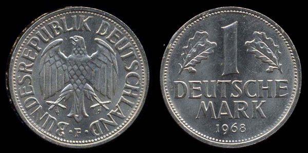 WEST GERMANY, 1 deutschemark, 1968 F