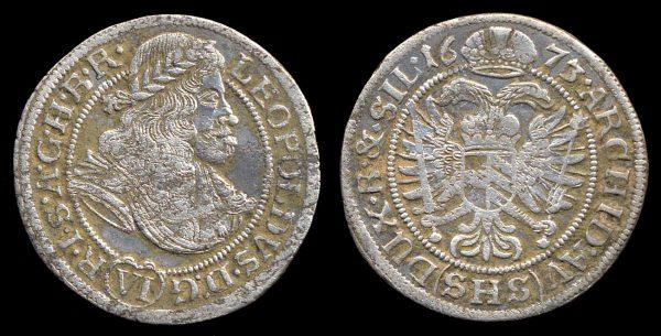GERMANY, SILESIA, 6 kreuzer, 1673 SHS