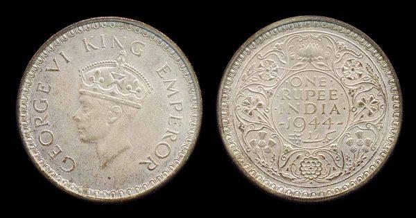 INDIA, 1 rupee, 1944, Bombay mint