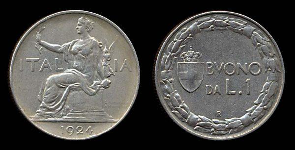 ITALY, 1 lira, 1924