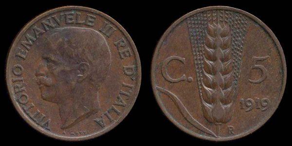 ITALY, 5 centesimi, 1919