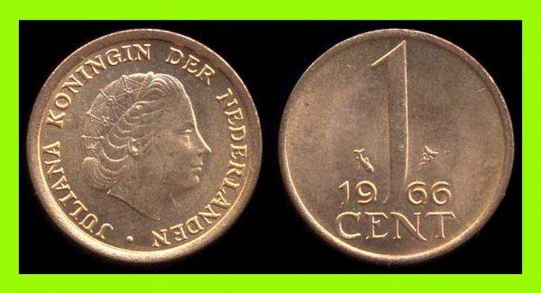 NETHERLAND, 1 cent, 1966