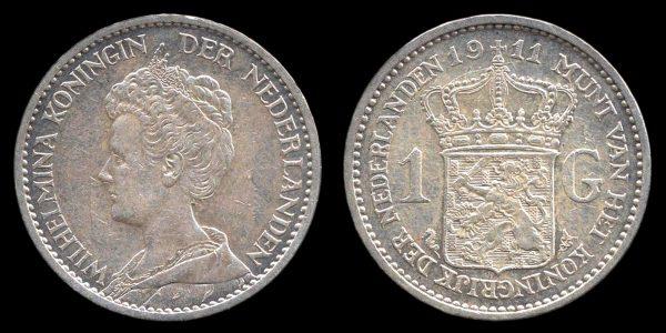 NETHERLAND, 1 gulden, 1911
