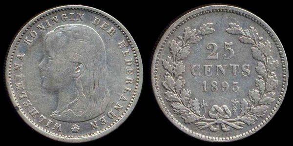 NETHERLAND, 25 cent, 1893