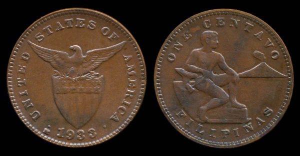 PHILIPPINES, 1 centavo, 1933 M