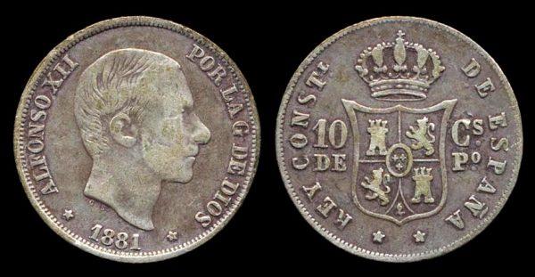 PHILIPPINES, 10 centimos, 1881