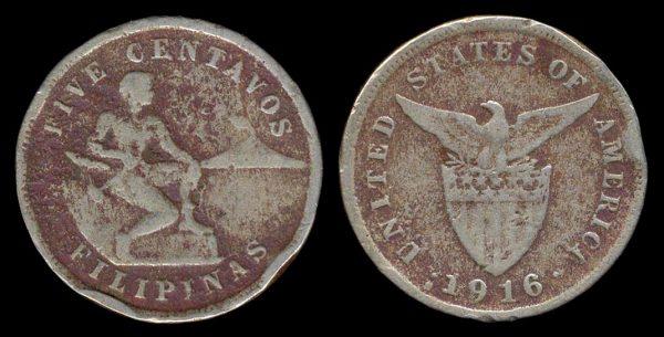 PHILIPPINES, 5 centavos, 1916 S