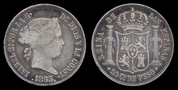 PHILIPPINES, 50 centimos, 1865