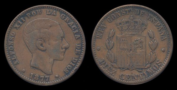 SPAIN, 10 centimos, 1877 unlisted variety