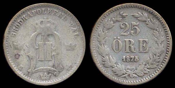 SWEDEN, 25 öre, 1875