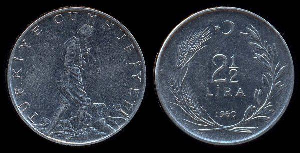 TURKEY, 2 1/2 lira, 1960