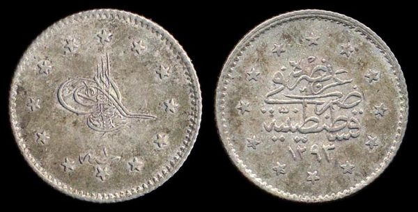 TURKEY, Murad V, 1876, 1 kurush, 1293 AH year 1 (1876 AD)