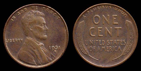 USA, 1 cent, 1931 S
