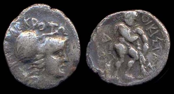 BRUTTIUM, KROTON, 425-350 BC, silver triobol, Hercules and the lion