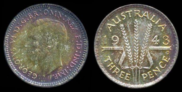 AUSTRALIA, 3 pence, 1943 D