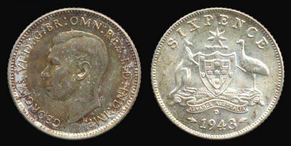 AUSTRALIA, 6 pence, 1943 D