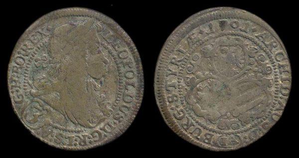 AUSTRIA, 3 kreuzer, 1701 IA, Graz mint