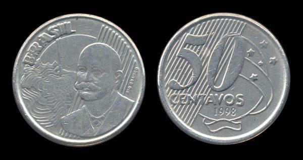 BRAZIL, REPUBLIC, 50 centavos, 1998 ERROR